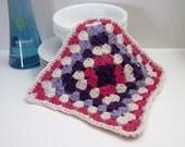Crochet Dish Cloth Cotton Granny Square - Purple, Lilac and Hot Pink Dishcloth