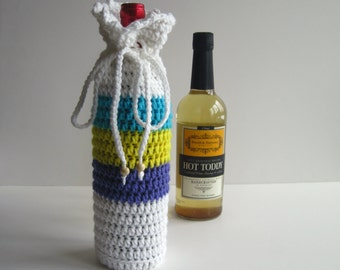 Crochet Wine Bottle Cover Crochet Cozy - White Purple Yellow Aqua with Wood Beads