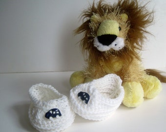 Crochet Baby Booties - White with Navy Blue Car Buttons - 3 to 6 Months