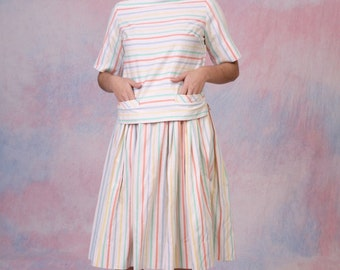 Vintage 1950's Day Outfit Top w/ Matching FULL SKIRT Size Small