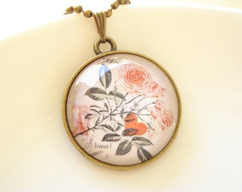Flower Handmade Photo Glass Cabochon Necklace NC339