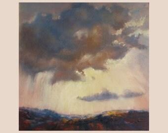 Dramatic Oil Painting- Thunderous Skies.12 x 12.