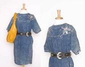 Vintage Denim Bag Dress / Sequin Detail / Jean Dress / S M L