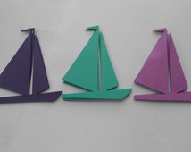 120 Sailboats. 5 inch. CHOOSE YOUR COLORS.  Shower, Birthday, Weddings, Escort, Table Cards.