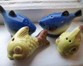 Vintage FISH Salt Pepper Shakers - Shabby Chic Cottage Decor or For Him Gone Fishin Decor - Blue and Yellow