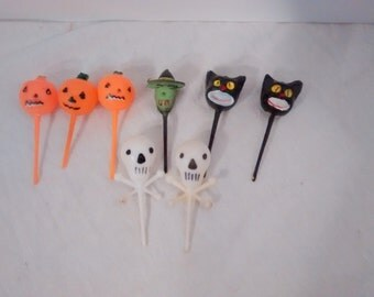 Mid Century  Halloween Picks, Cupcakes, Witch, Jack ' lantern Black Cat