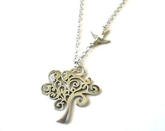 Tree of Life necklace bird sparrow jewelry antiqued silver tree pendant vintage victorian style