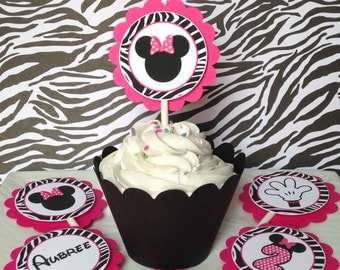 12 Minnie Mouse Zebra Birthday Party Cupcake Toppers