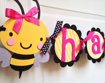 Bumble Bee Birthday Party Banner in Black, Yellow and Pink
