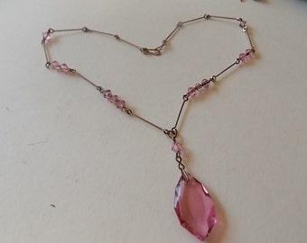 Vintage Pink Glass Art Deco Czech Drop Necklace PRETTY
