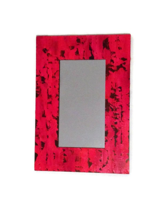 Red Mirror, Shabby Chic Hand Painted mirror, painted mirror, hanging mirror, red wall mirror, Deck Your Halls Red with this stand out piece!
