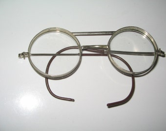 VINTAGE SAFETY GLASSES, 1940's Eyeglasses, Steampunk Goggles