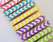 10 BRIGHT Chevron Clothespins. Pegs. Pins. Chip Clips. Office. Home. Rainbow. Spring. Gift Wrap. Kitchen. Home Decor.
