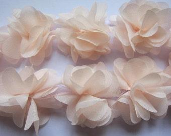 """1 yard 2.5"""" Chiffon Flowers Lace Trim-Lt.Peach CH014"""