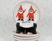 Vintage Georges Briard waving Santa butter pin dishes - set of 4