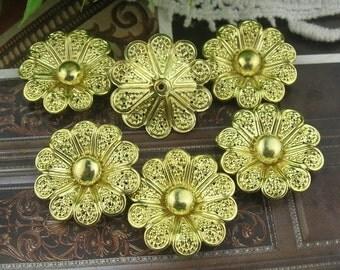 8pcs Golden Platedd Brass Rose.19 mm