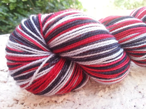 Hand Dyed Self Striping Sock Yarn Hansel n Gretel colorway in superwash merino n nylon by Little Dyeworks