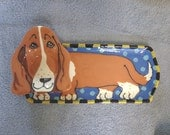Basset Hound Whimsical Pottery Chip and Dip Plate
