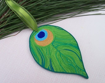 Peacock Feather Decoration, polymer clay Christmas tree ornament