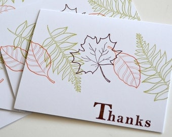 Thank You Cards - Autumn leaves Card Set - Handstamped Cards and Envelopes - Foliage Cards - Set of 4 Handmade Cards