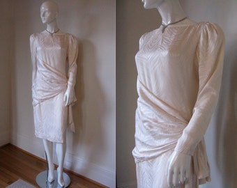 Vintage 1970s Bill Blass Ivory Winter White Silk Draped Front and Back Cocktail Party Dress
