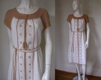 Vintage Bohemian Festival Dress w/Crochet Neckline and Sleeves and Embroidery w/Matching Belt Bust 36