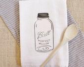 Tea Towel  Vintage Mason Jar Tea Towel Flour Sack Towel Kitchen Cotton Towel Home Decor Gift