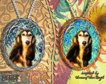 Saluki Jewelry Pendant - Brooch Handcrafted Porcelain by Nobility Dogs - Gustav Klimt and Van Gogh