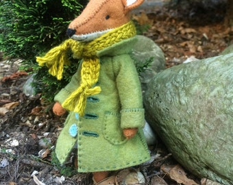 Fox coat PDF pattern, felt coat pattern, miniature clothing, doll coat pattern, DIY felt, DIY doll clothing