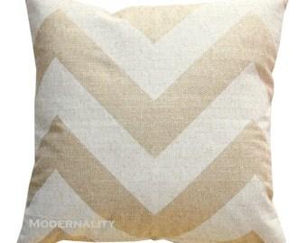 Decorative Chevron Pillows, Beige and Ivory Pillow, Zippy Cloud Denton Pillow Cover, Zippered Pillow, Zig Zag Burlap Pillow, Textured Pillow
