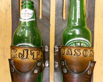 Custom Hand-Crafted Leather Beer Holster, Personalized Name or Initials, Drink Beverage Holder