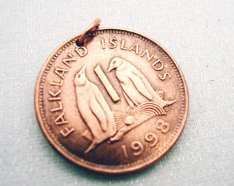 PENGUIN pendant - copper COIN charm or PENDANT - Falkland Islands - Penguins - penny - bird - Pittsburgh Penguins - no chain or cord