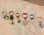 """Customizable Wine Charms and Coffee Mug Charms for Garden Parties, Fetes, Office Meetings, Wedding Gifts, """"Asia"""" theme"""