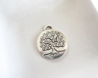 Tree Pendant Silver Finish With Curly Branch 32x24mm - 3 Pieces (CP01)