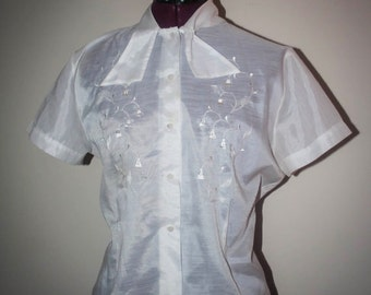 1960s Sheer Collar Tie White Shirt / Short Sleeve Button Up Blouse / Embroidered Blouse / Mod Blouse / Fancy Work Blouse / Size L