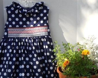 Size 5 Hand Smocked Navy Blue Polka Dot Dress