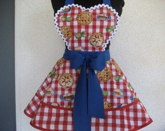 Miss American Pie Red White & Blue Gingham Pinup Apron