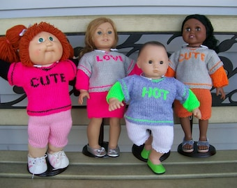 """66)SALE 5.00 In Stock Items Only - 8.00 Special Orders reg price Knit Logo Sweater Long Sleeves 15-18"""" Dolls AG CP Bitty Baby Logo of choice"""