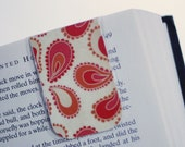 Magnetic Bookmark, Page Marker, Orange Red Cream Paisley, Ready to Ship
