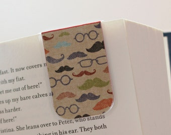 Magnetic Laminated Bookmark, Laminated Bookmark, Magnetic Bookmark, Mustache, Glasses, Hipster, Ready to Ship