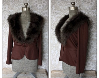 Vintage 1960's 70's Lilli Diamond Brown Peplum Jacket with Ostrich Feather Collar L/XL