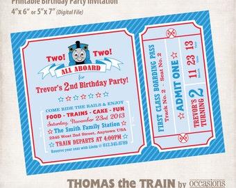 personalized printable birthday invitation digital file thomas the train