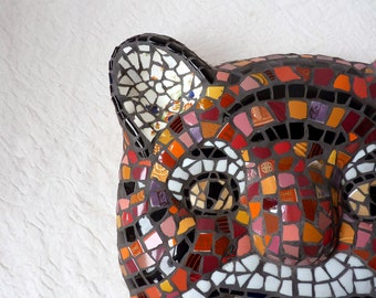 Tiger art mask, mosaic cat mask in orange and black broken dishes