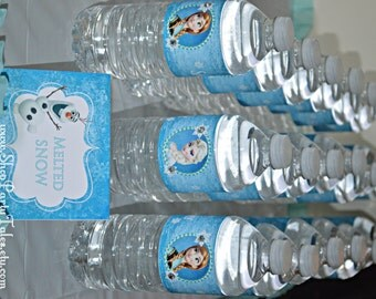 FROZEN disney princess Anna and Elsa Girl Birthday Party Printable Personalized water bottle labels disney INSTANT DOWNLOAD