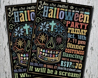 Halloween Party Invitation - Day of the Dead Invitation - Dia de Los Muertos- Mexican Skull  - 5x7, Digital Invite