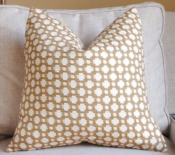Beautiful Decorative Pillow Cover-18x18-COTTON-Betwixt-Biscuit/Ivory-Celerie Kemble-Throw Pillow-Accent Pillow