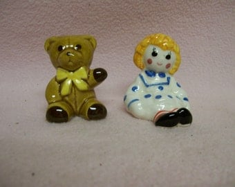 Salt Pepper Shakers  Doll and Teddy Bear Circa 1980s