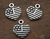 15 American Flag Charms Heart Shaped Antiqued Silver 13mm