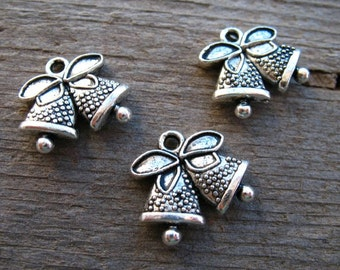 6 Silver Bell Charms 17mm Christmas Charms