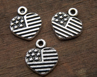 30 American Flag Charms 13mm Silver Heart Shaped Flags